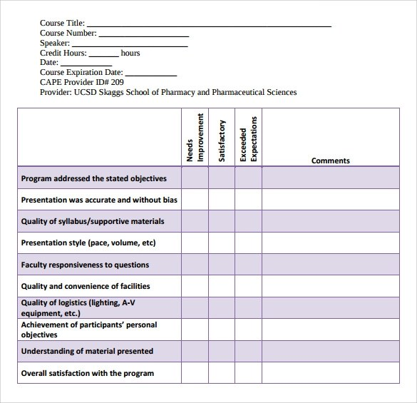 Program Evaluation Form Questions | Free Resume Outline Templates