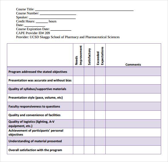 12 Program Evaluation Forms \u2013 Samples, Examples  Formats Sample