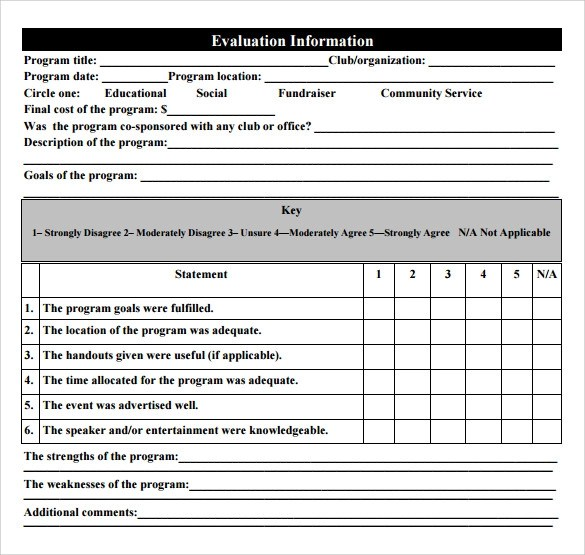 Sample Performance Evaluation Form The Management Center Sample Program Evaluation Form 11 Free Samples