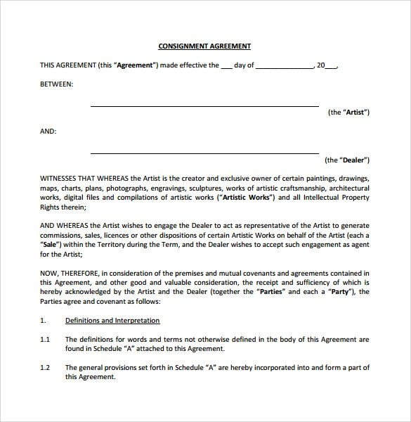Consignment Agreement Template Example Consignment Agreement