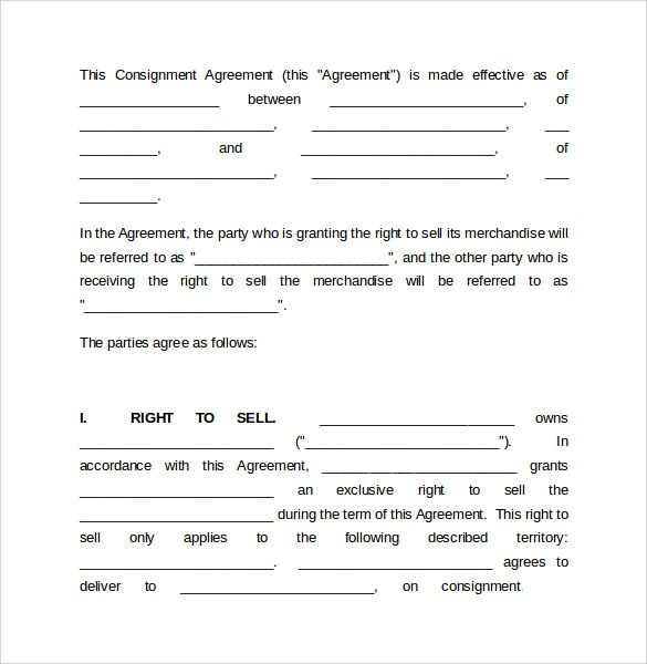 8+ Sample Consignment Agreements Sample Templates - consignment template
