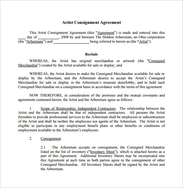Consignment Agreement For Sale Of Goods – Consignment Agreement Template Word