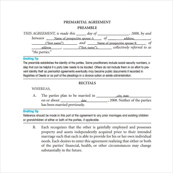 11+ Prenuptial Agreement Samples \u2013 PDF, Word Sample Templates