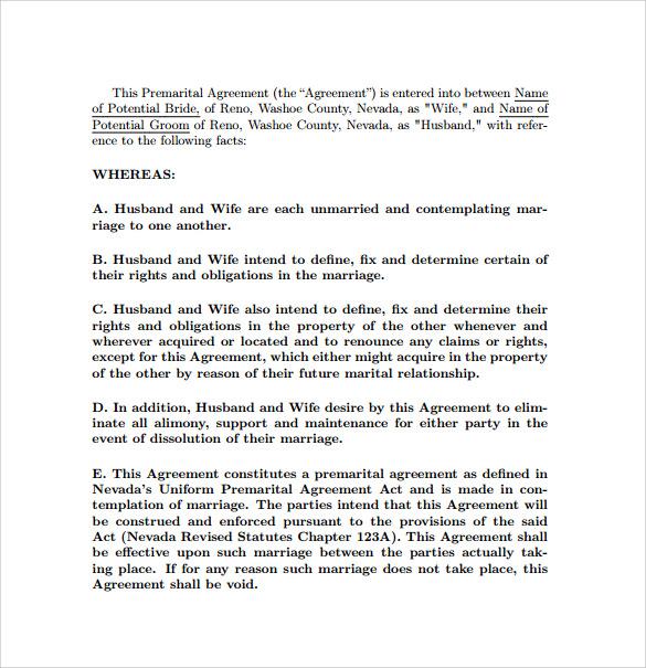 8 Prenuptial Agreement Templates \u2013 Samples , Examples  Formtas - sample prenuptial agreement template