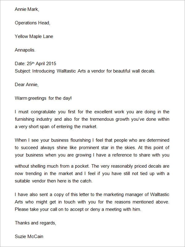 examples of a business letter format