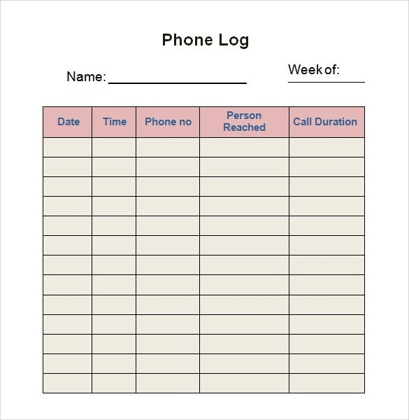 Sample Log Template - Documents in PDF , Word , Excel - free log templates