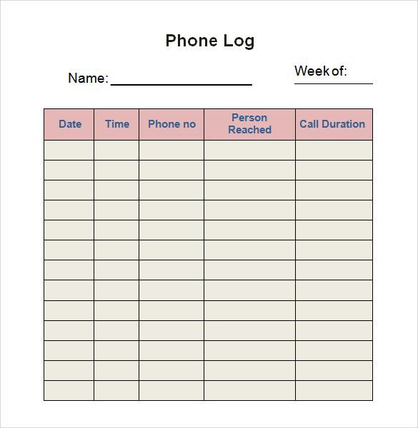 phone call log template word