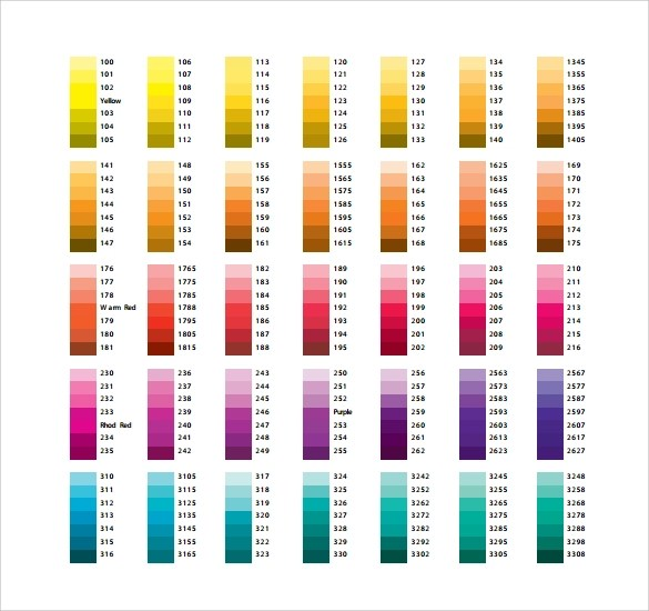 color chart template node2003-cvresumepaasprovider - sample pms color chart