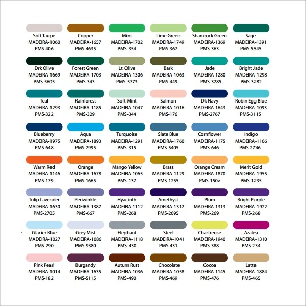 Pantone Color Chart Template Vector Infographic With Pantone - color chart template