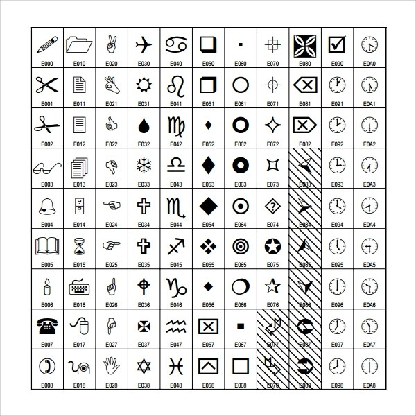 Sample Wingdings Chart Weddings And Wingdings Symbol Collection - sample wingdings chart