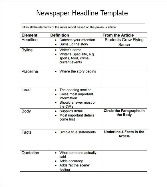 7+ Newspaper Headline Samples Sample Templates - Newspaper Headline Template