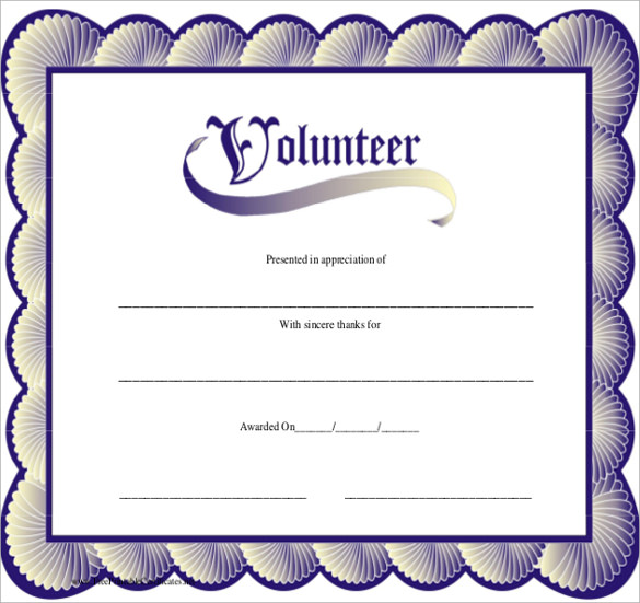 11+ Volunteer Certificate Templates Sample Templates - free appreciation certificate templates