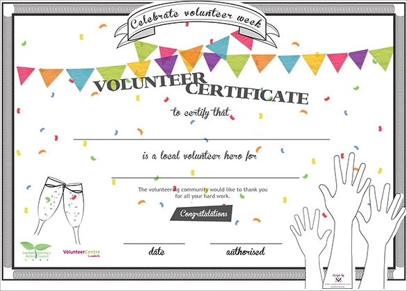11+ Volunteer Certificate Templates Sample Templates