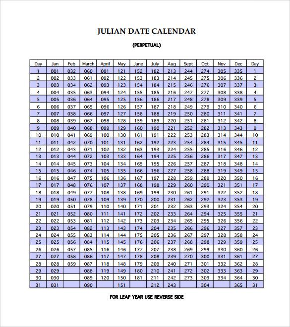 11 Sample Julian Calendar Templates to Download for Free Sample - julian calendar template