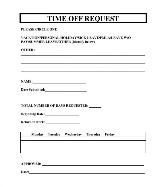 Sample Time Off Request Form Software Request Form Autocad - time off request forms