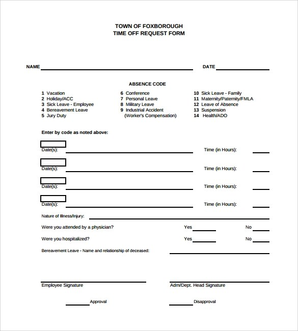 time off request form free - Ozilalmanoof - vacation request form