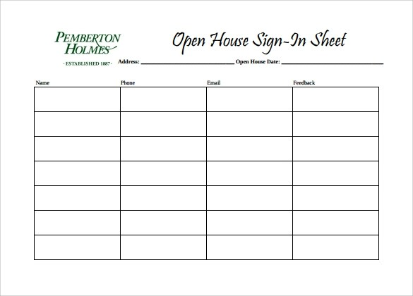Sample Open House Sign in Sheet - 10+ Documents in PDF - meeting sign in sheet templates