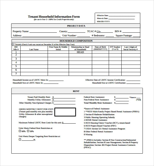 11 Tenant Information Forms to Download for Free Sample Templates - rental assistance form