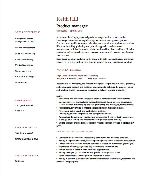 8 Product Manager Resume Templates to Download for Free Sample - product manager resume examples