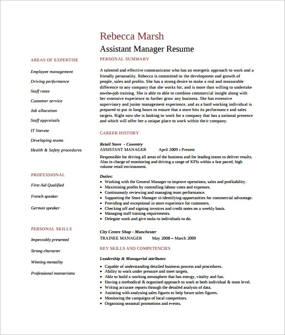 10+ Assistant Manager Resume Templates Sample Templates