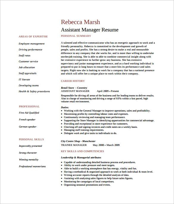 free resume templates for retail management