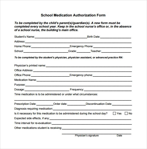 Medical Authorization Form Template madebyrichard - School Medical Form