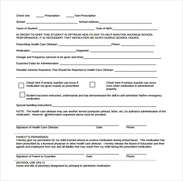 15 School Medical Form Templates to Download for Free Sample Templates