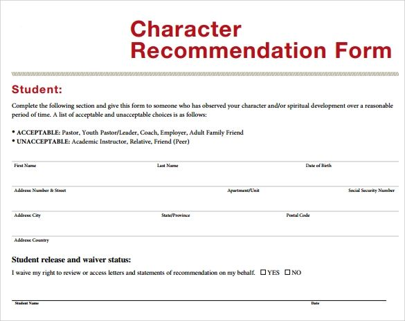 character letter of recommendation template