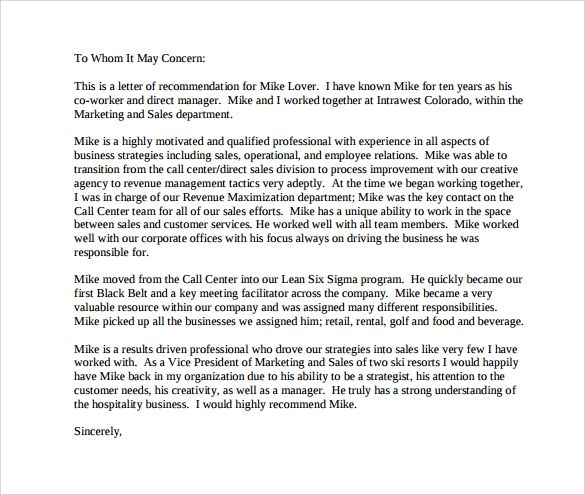 letters of recommendation templates free