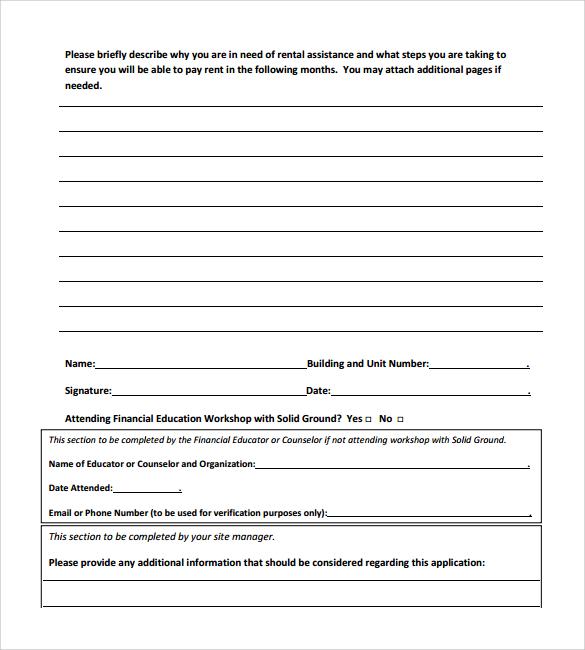 word rental application