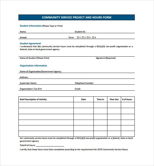 14 Service Hour Form Templates to Download for Free Sample Templates - service form in word