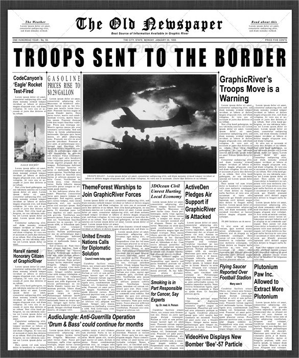Sample Newspaper Front Page - 5+ Documents in Word, PDF, PSD