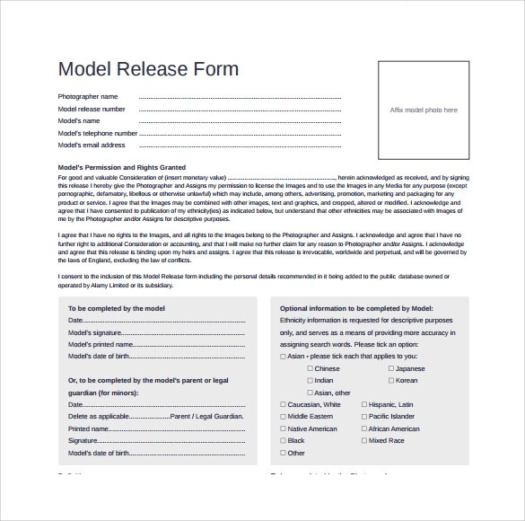 9 Model Release Forms \u2013 Samples , Examples  Format Sample Templates - model release form in pdf