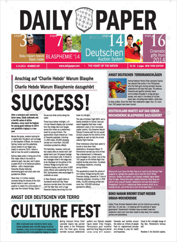 School Newspaper Template Oakandale