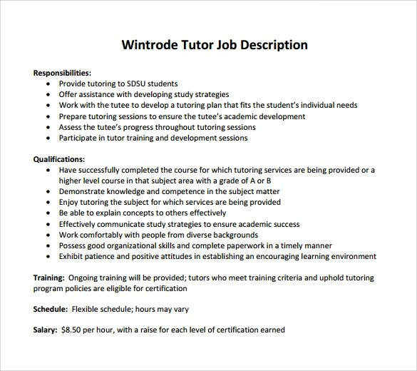 Tutor responsibilities elementary tutor resume sample download job description tutor resume tutor job description las positas college sample tutor resume template 7 free pronofoot35fo Image collections