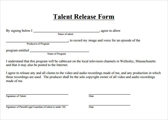 9 Talent Release Forms \u2013 Samples, Examples  Formats Sample Templates - Talent Release Form Template