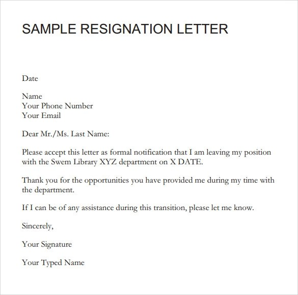 How To Write Application To The Bank Manager For Signature Resignation Letter 8 Samples Examples And Format