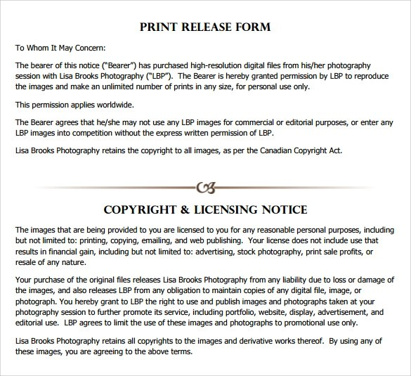 9 Print Release Forms \u2013 Samples, Examples  Formats Sample Templates - photo copyright release forms