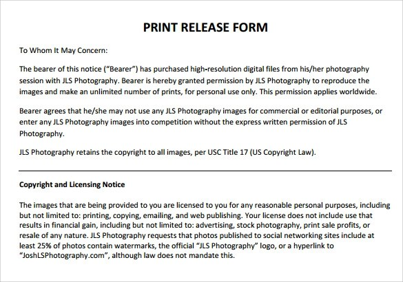 Release Forms General Photo Release Form Photography Release - print release form