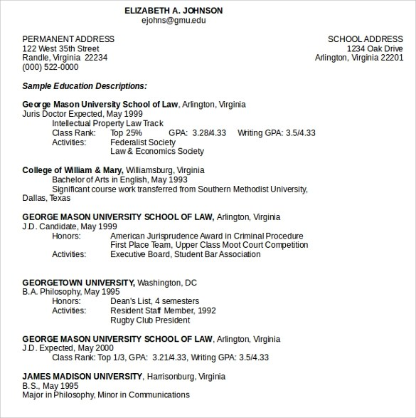 13+ Legal Resume Templates Sample Templates