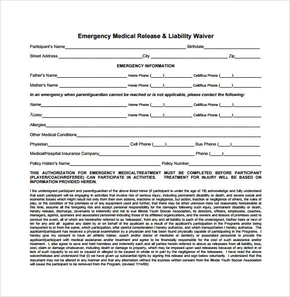 release liability waiver template - free release of liability form