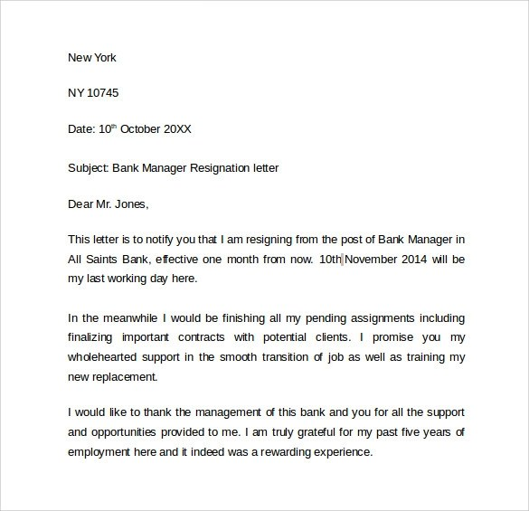 Formal Letter Sample Template Layout Resignation Letters –8 Free Samples Examples And Formats