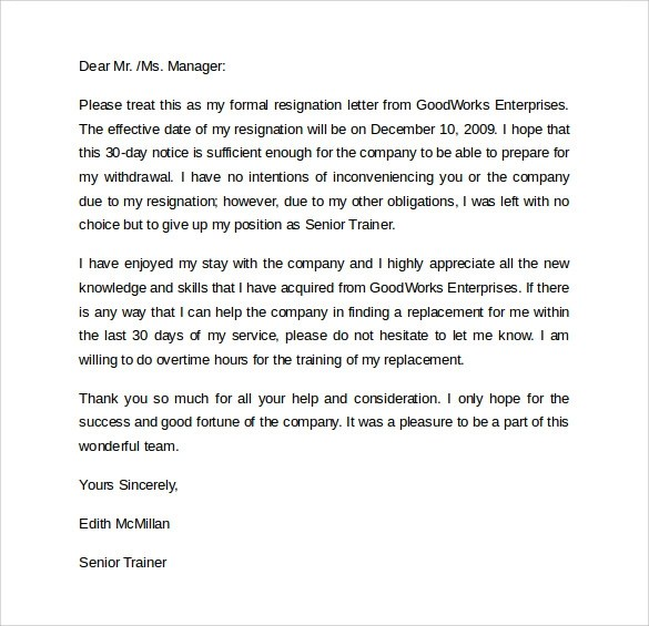 Resignation Letters Reminders Drafting A Resignation Letter - example of resignation letter