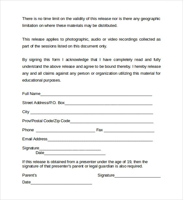 Video Release Form video release form template fresh video release