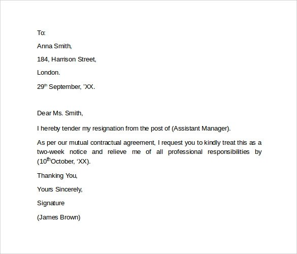 Resignation Letters u20138+ Free Samples, Examples \ Formats - simple resignation letter example