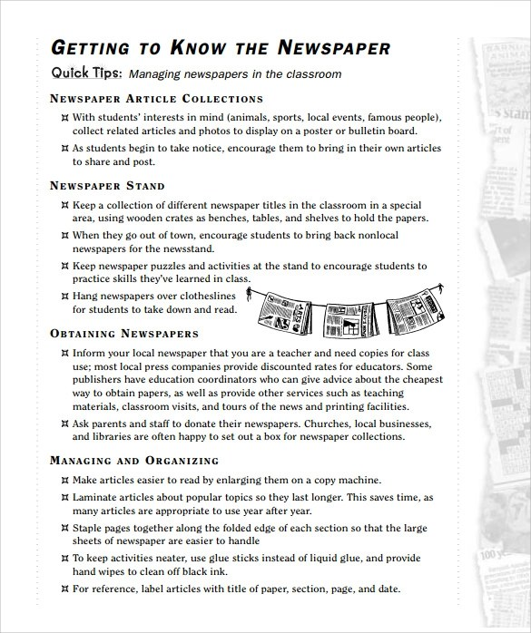 7 Newspaper Templates for Kids for Free Download Sample Templates - Newspaper Templates For Kids
