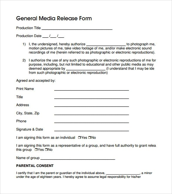 8 General Release Forms \u2013 Samples, Examples  Formats Sample Templates - Release Forms