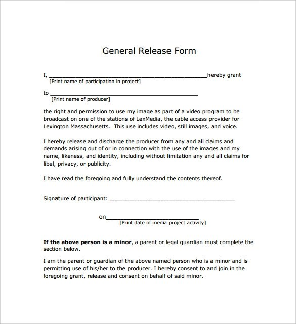 General Release Form - 7+ Free Samples, Examples  Formats - photo release form