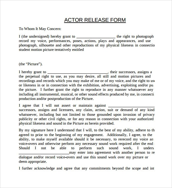8+ Actor Release Forms \u2013 Samples, Examples  Formats Sample Templates - Actor Release Forms