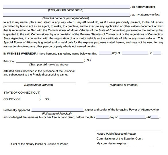 9 Special Power of Attorney Forms \u2013 Samples, Examples  Formats
